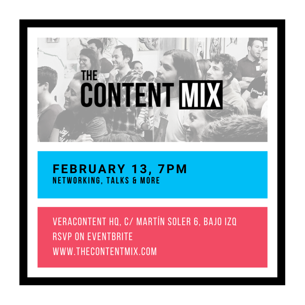 The content mix networking event in Madrid, Spain, brings together a community of content and marketing professionals based in Europe